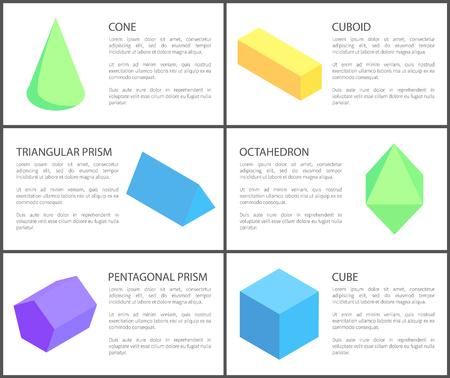 Triangular and Pentagonal Prisms, Geometric Set Illustration