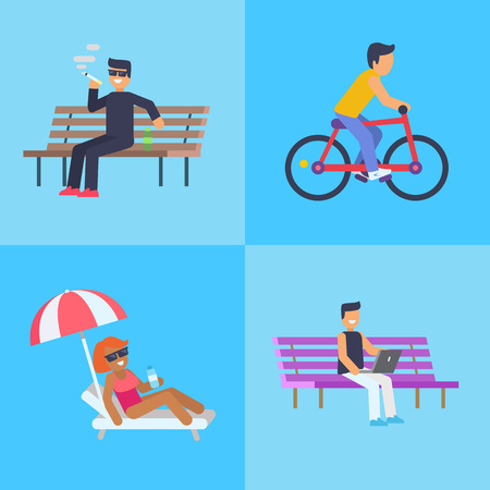 People Activities at Park Vector Illustration