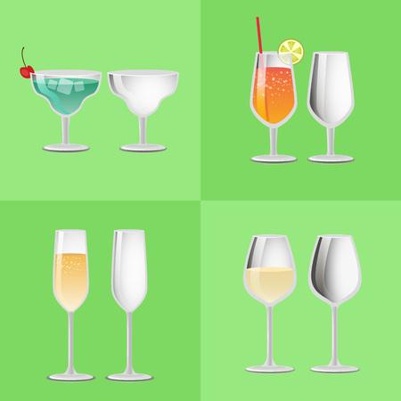 Set of Refreshing Cocktail Empty Glasses Margarita 向量圖像