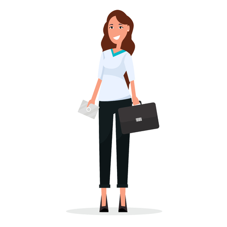 Cartoon Businesswoman with Briefcase and Envelope