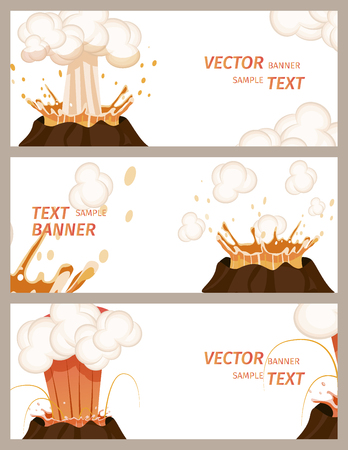 Volcanic Eruption Stages Set of Banners Vector Фото со стока - 102734549