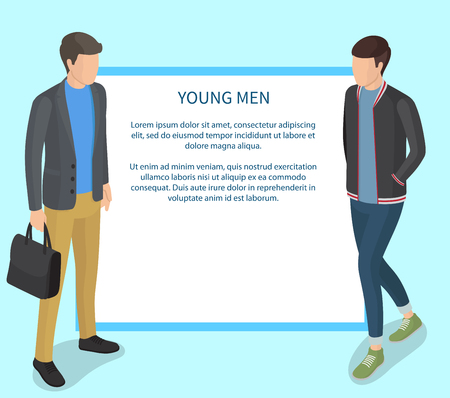 Young Men Wearing Casual Clothing Illustration