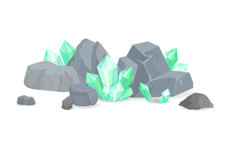 Green Crystals Among Stones Realistic Minerals Illustration