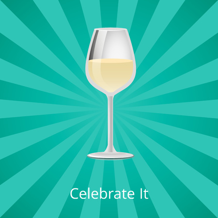 Celebrate it Glass of White Wine Classic Drink Illustration