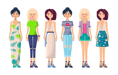 Stylish Girls Set Summer Vogue Collection Clothing