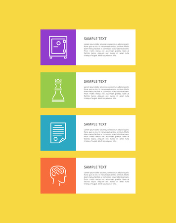 Varied Icons Set isolated on Yellow, Colorful Card