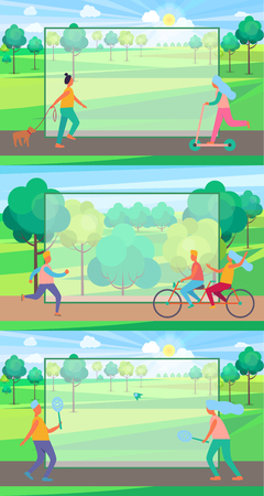 Set of Posters with People Doing Sport in Park