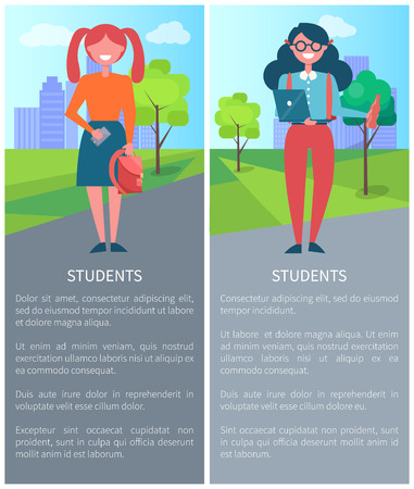 Students on Background of City, Description Girls Stock Vector - 102734667