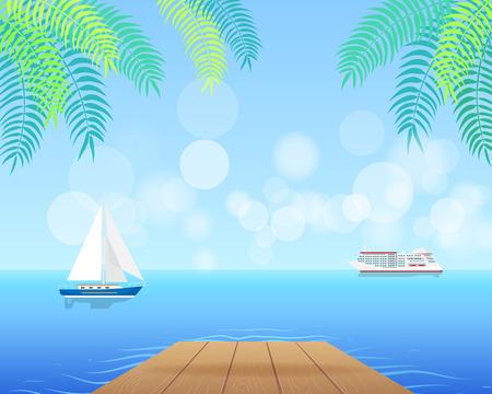Paisaje marino con crucero blanco y velero azul Ilustración de vector