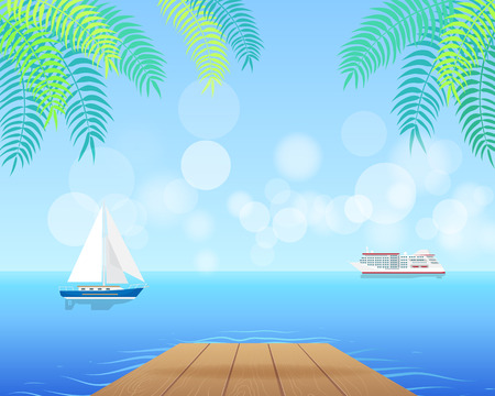 Seascape with White Cruise Liner and Blue Sailboat