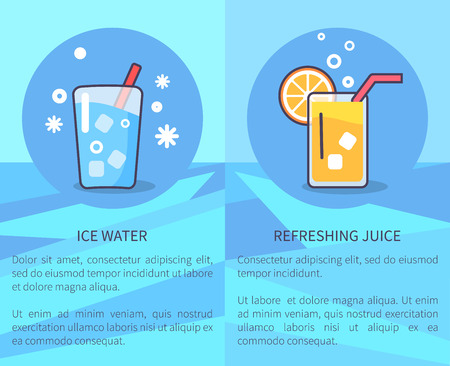 Set of Ice Water and Refreshing Juice Posters