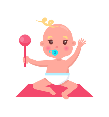 Little Baby with Pacifier and Rattle Sits on Rug Illustration