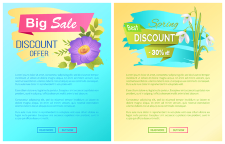 Big Spring Best Sale Advertisement Labels Snowdrop