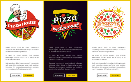 Pizza House and Restaurant Vector Illustration