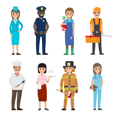 Professions People Cartoon Characters Icons Set Stockfoto