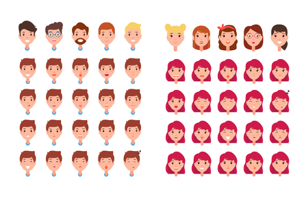 Man and Woman Emotions Set Vector Illustration