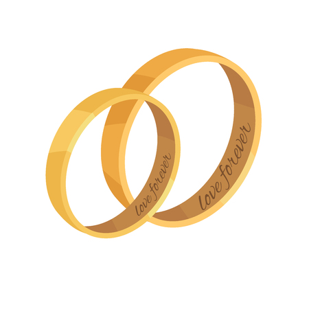 Pair of golden wedding rings with love forever memorial inscriptions icon. Man and woman bridal rings from precious metal isolated illustration Ilustração