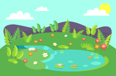 Pond with tropical bushes and green leaves, flowers of different color, water lilies on background of hills or stones, blue sky with clouds and sky Illustration