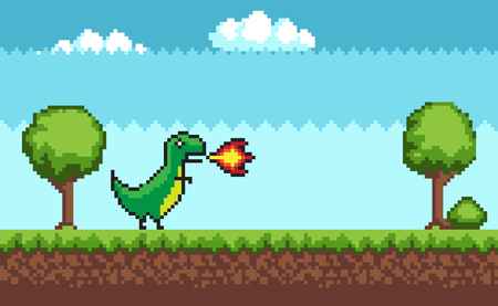 Pixel T-rex on Outdoor Walking Vector Illustration