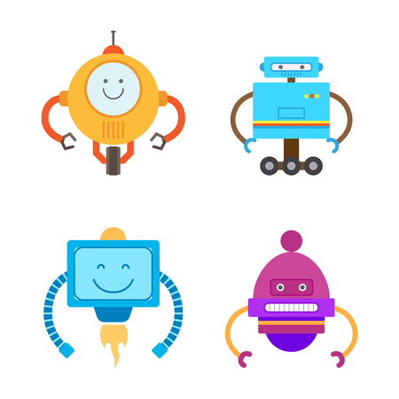 Robots Collection Types Set Vector Illustration