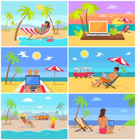 Men and Women Work as Freelancers in Summer Set