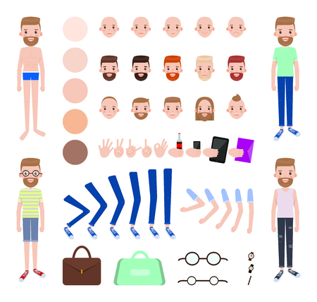 Modern Guy with Spare Outfits and Body Parts Set Stock Photo