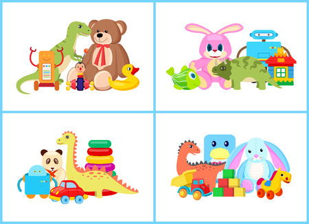 Toys for Children Collection Vector Illustration Stock Photo