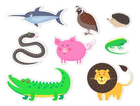 Wild Bird, Animals and Fish Isolated Stickers