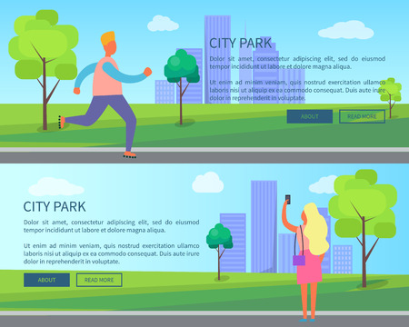 City Park Set of Posters Depicting Male and Female Standard-Bild - 102735276