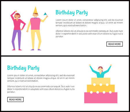 Birthday Party Web Posters Set with Men and Women Stockfoto - 102735792