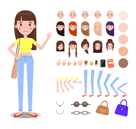 Girl Constructor with Body Parts and Accessories