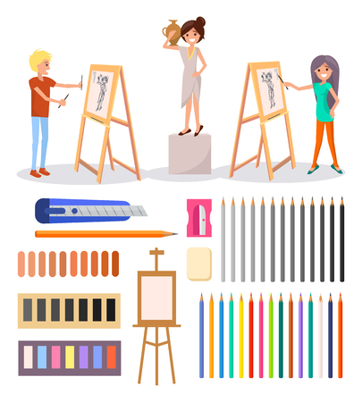 Happy Boy and Girl Drawing Isolated Illustration Illustration