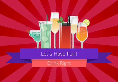 Lets Have Fun Drink Right Manual Web Page Design  イラスト・ベクター素材
