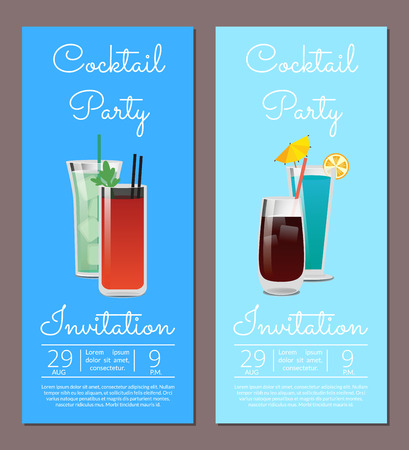 Cocktail Party Invitation Banner Beverages Glasses