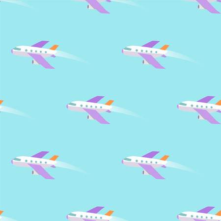 Airplane Flying in Sky Seamless Pattern on Blue