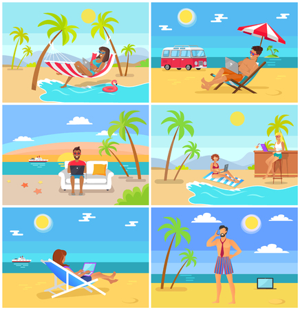 Freelancers in Hot Tropical Countries in Summer Reklamní fotografie - 102736066