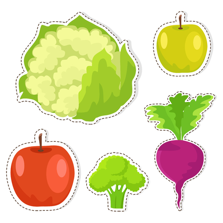 Ripe Fruits and Vegetables Vector Stickers Set Illustration