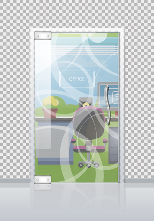 Office workplace through sliding glass door view flat vector. Entrance to the cabinet with table, computer and chair. Modern office interior with transparent wall illustration for business concepts Stock Illustratie