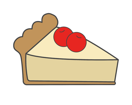 Sweet Cake with Cherries Flat Vector Icon