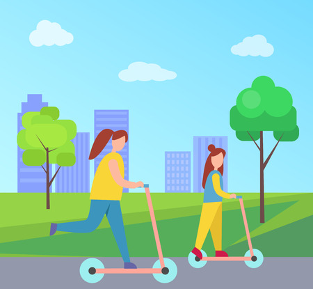 Mother and Daughter Riding Scooters in City Park Stock Vector - 102736097