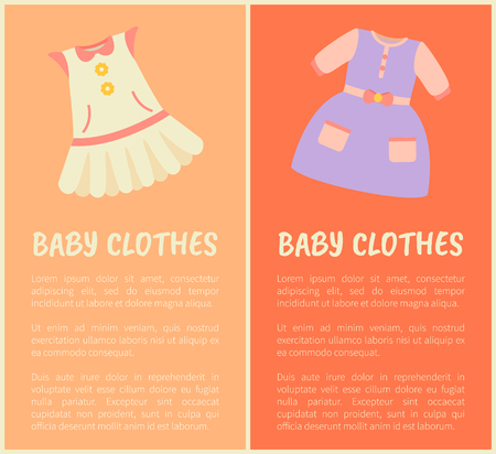 Babykleidung zwei bunte Vektor-Illustrationen