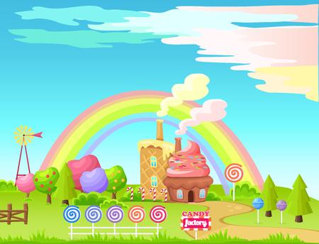Concepto de Vector plano de dibujos animados de hadas de fábrica de dulces