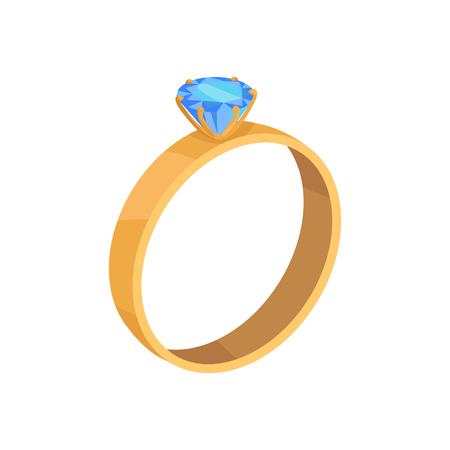Golden wedding ring with blue diamond vector icon