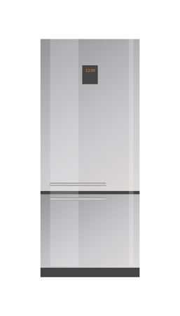 Shiny Modern Refridgerator with Small Sensor Panel