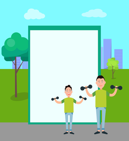 Father and Son Train with Dumbbells vector Illustration