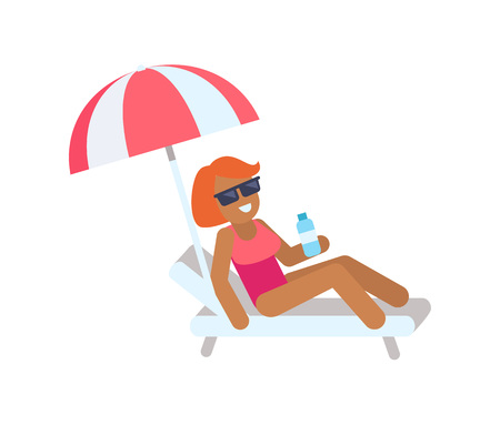 Cute Woman on Vacation Color Vector Illustration