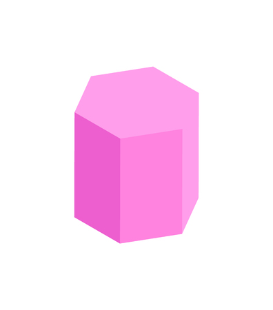 Hexagonal Prism Geometric Figure, Color Template 일러스트