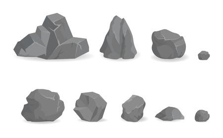 Grey Stone Rocks-collectie van grote en kleine edelstenen
