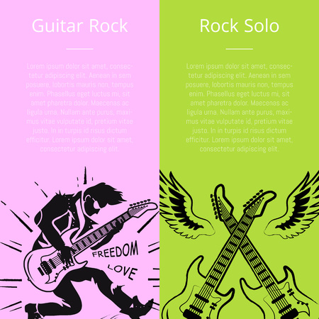 Guitar Rock and Solo Posters with Text Vector Vettoriali