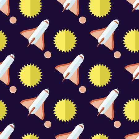 Seamless Pattern with Rockets and Sun Isolated